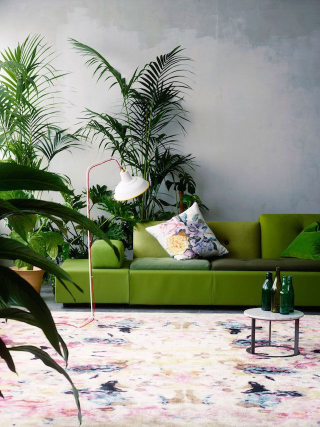 The green sofa with the shades of pink coming through in the large rug and texture of the plants are a perfect match - a way of using Pantone's Colour of the Year, Greenery.