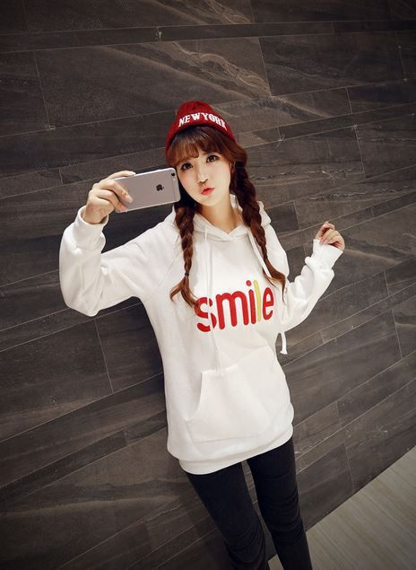Korean Fashion - Smile face warm hoody with hat