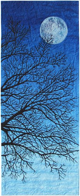 This is a blanket!: Beautiful Quilts, Art Quilts Trees, Artquilts, Blue Moon, Quilts Art, Moon Rivers, Blue Blankets, Trees Quilts, The Moon