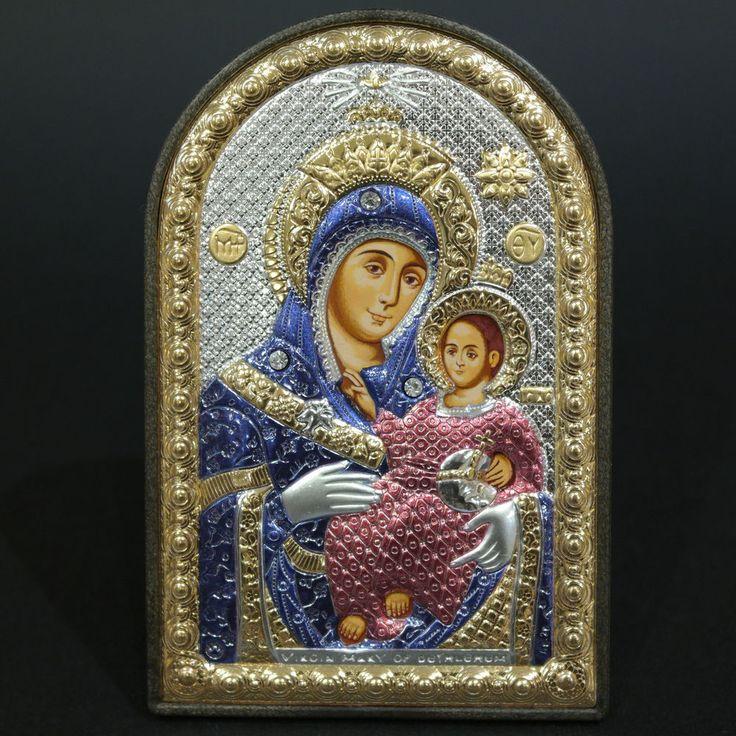 Orthodox Silver 925 Icon Greek Handmade Byzantine Virgin Mary Bethlehem 8x12cm