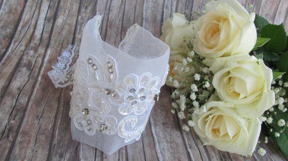 Bridal Bracelet  White Organza Lace Bracelet  by CANDYlook4u
