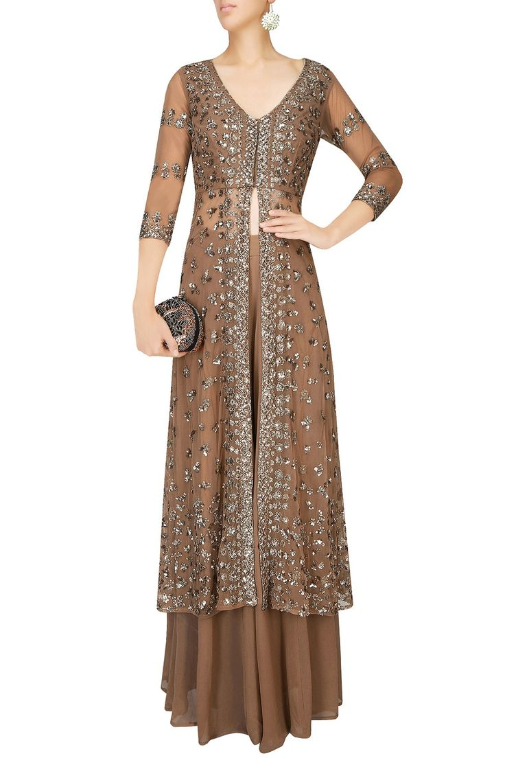 Copper sequins embellished sharara set available only at Pernia's Pop Up Shop.