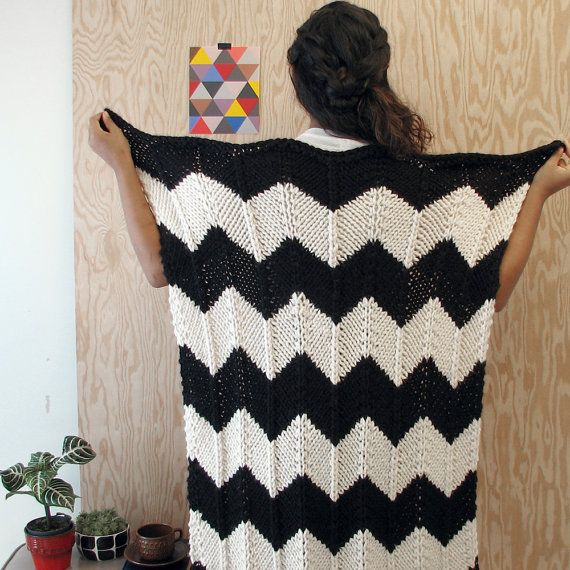 Knitted Chevron Baby or Lap blanket in Black & by YarningMade