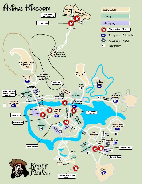 Disney World's Animal Kingdom Map with character meet and greet locations l kennythepirate.com #disneyworld #animalkingdom #map