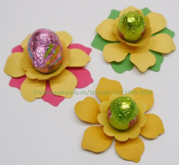 Tischdeko für Ostern mit der Stanze Zierblüte