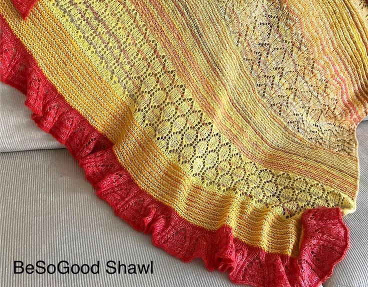 Beautiful version of the BeSoGood Shawl by Helle Slente Design