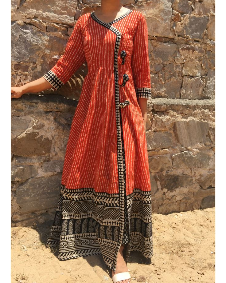 The Secret Label Maroon Cotton Printed Angrakha Kurti