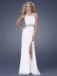 A-Line/Princess Scoop Neck Sweep Train Chiffon Prom Dress/Evening Dress With Beading