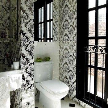 Bathroom Floating Washing Stand Designer Mid Century Bathroom Design Floral Wallpaper And Besdie Classic Black Door Graphic Sleek Floor Shocking Crazy Marble Bathroom Ideas That Make You Taste Your Own Paradise