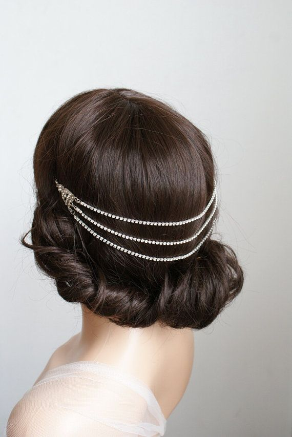 1920s wedding Headpiece - Downton Abbey style Bridal Accessory - Vintage Headpiece - Silver crystal hair accessory