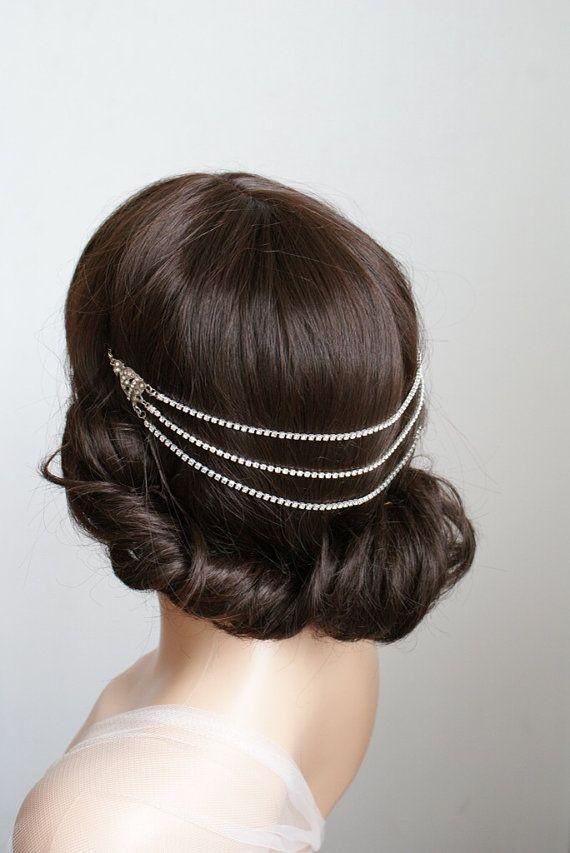 1920s wedding Headpiece - headchain style Bridal Accessory - Great Gatsby Headpiece - crystal Bridal Accessory