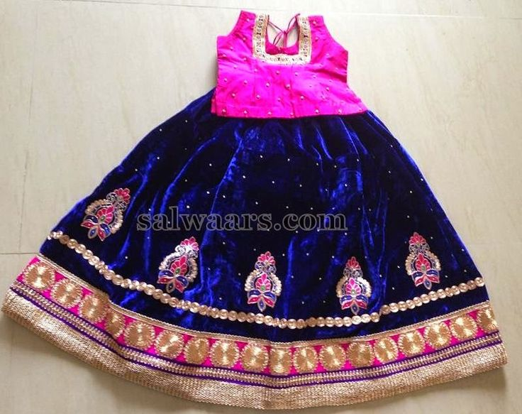 Velvet Blue Skirt with Blouse
