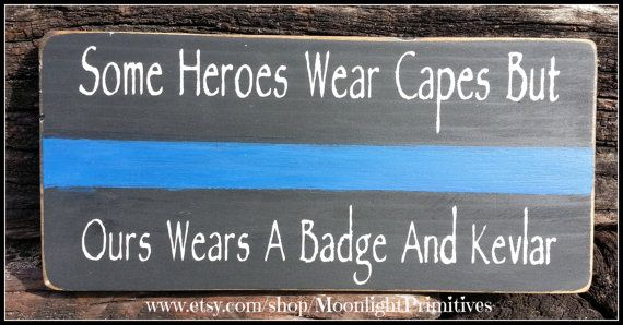 Police Some Heroes Wear Capes Thin Blue by MoonlightPrimitives, $20.00