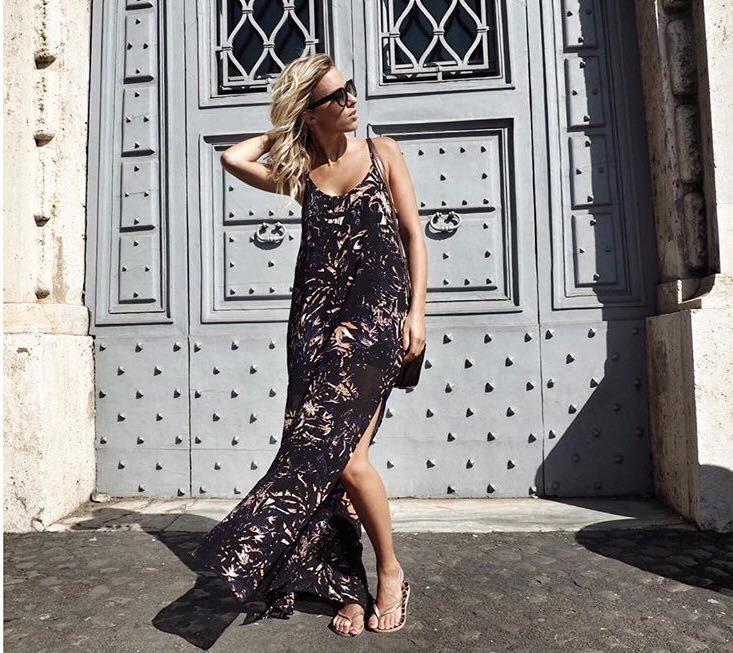 Buongiorno Roma!! Belissima Zoe wearing uma and leopold Backyards long dress through her travels in Rome. umaandleopold.com