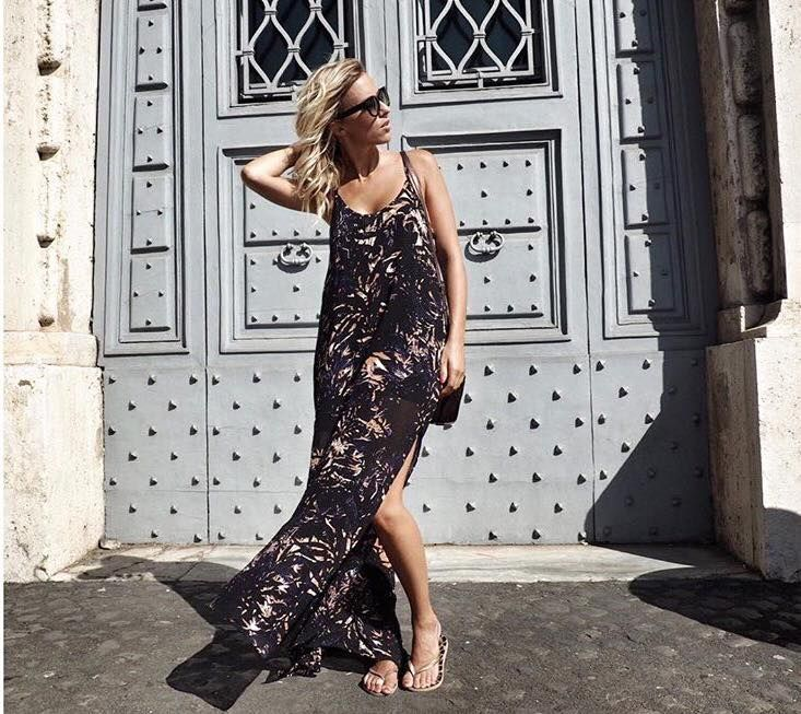 Buongiorno Roma!! Belissima Zoe wearing uma and leopold Backyards long dress through her travels in Rome. umaandleopold.com