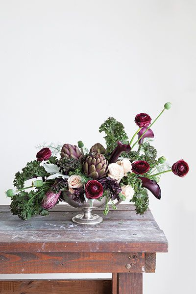 greens and splashes of burgundy