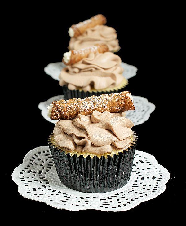 Cannoli Cupcakes with Marsala-Chocolate Whipped Cream & Mini Cannoli  http://gracessweetlife.com/