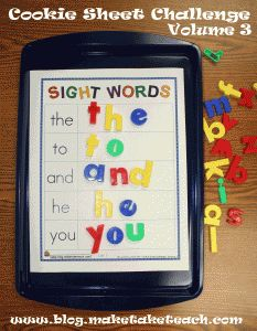 Cookie sheet activities are great for your literacy centers.  Five FREE sight words templates for building sight words!
