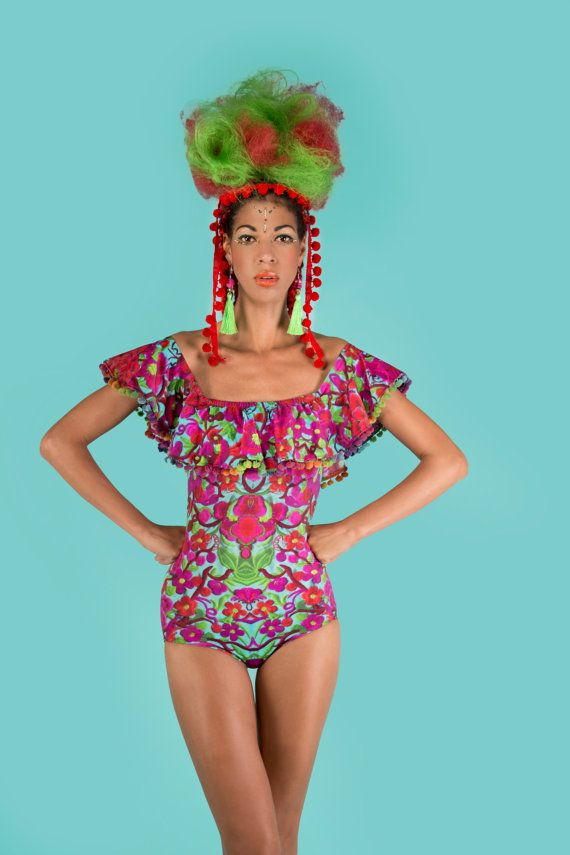 Lycra Festival Bodysuit with Mexican Style Off the Shoulder Pom Pom Frill. Folklorico.
