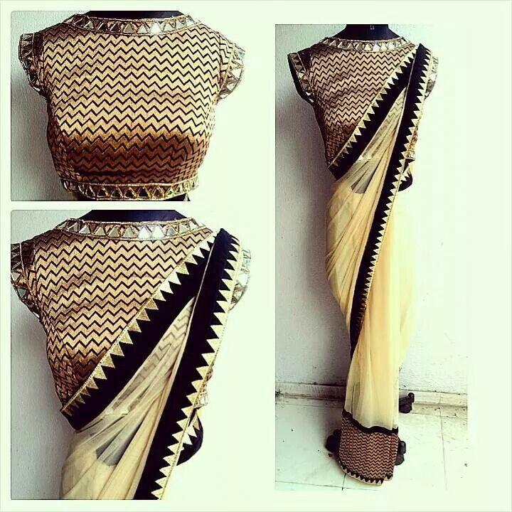Mirror chevron sari by Waidurya. Personally love this....