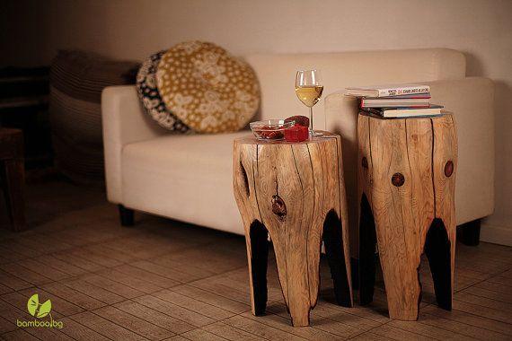 Reclaimed wood coffee table (SET OF 2), wooden furniture, side table, tree stump table, wood furniture rustic, wood log,  pine table, stool