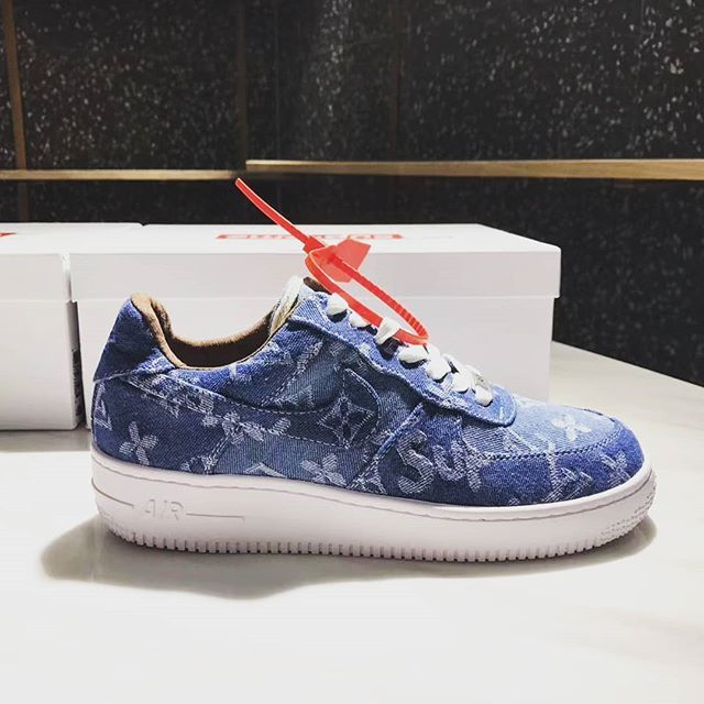 b3091cb203 Air Force 1 Supreme x Louis Vuitton Denim Custom  stomperkicks  airforce1   supreme