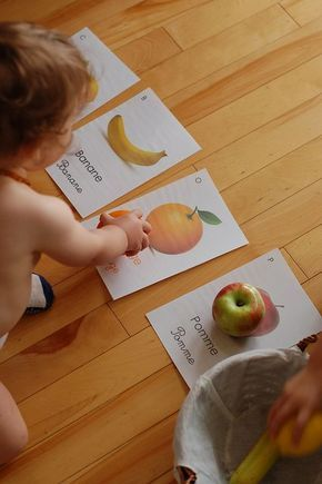 sorting fruit to the pics. Love that it has the name of the fruit in English and another language