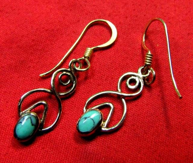 BRONZE TURQUOISE EARRINGS RT 278  NATURAL TURQUOISE GEMSTONE EARRINGS GEMSTONE  , FROM GEMROCKAUCTIONS.COM