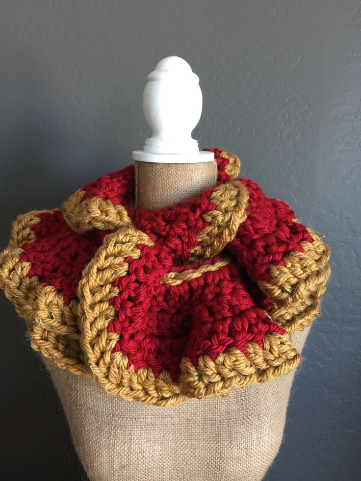 TEAM SPIRIT Crocheted Ruffle Potato Chip Scarf: Demi Scarf in Garnet and Gold by MyOnDemandStyle on Etsy https://www.etsy.com/listing/272324364/team-spirit-crocheted-ruffle-potato-chip