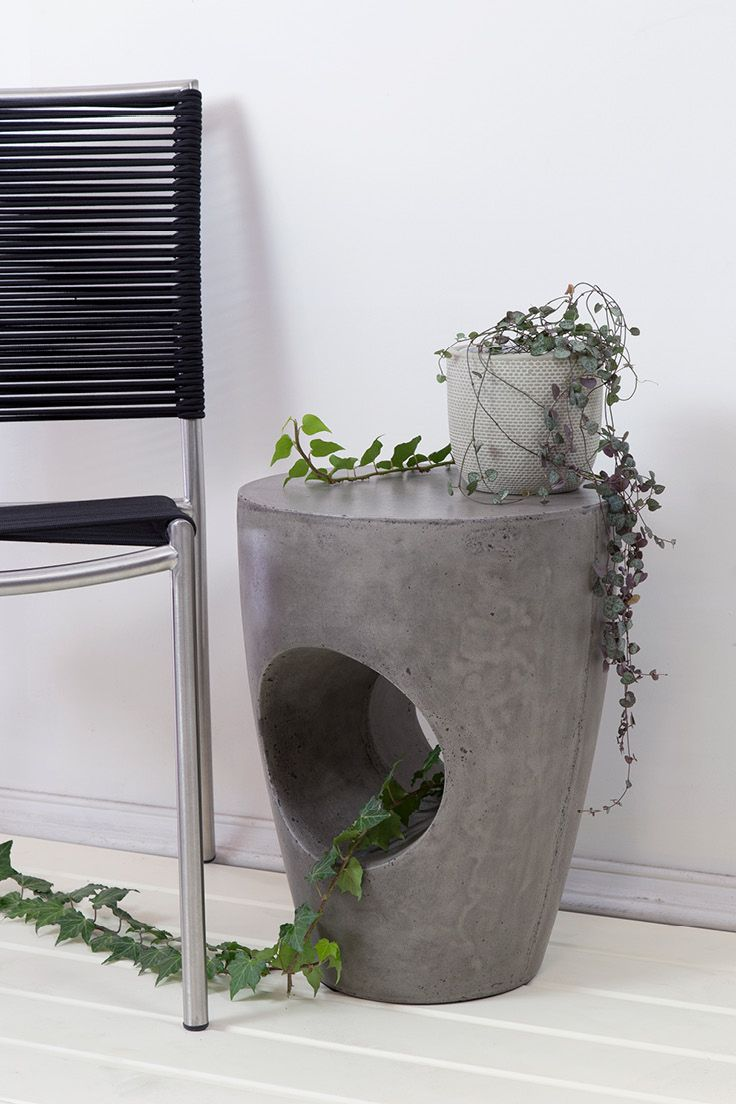 Tunnel Concrete Stool & Albay Stainless Steel and Cord Chair // Indoors & Outdoors // Available at Schots in Melbourne, Australia