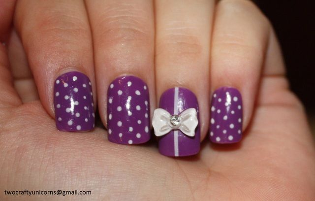 'Purple Polka Dot nails with 3D bows' is going up for auction at 12pm Sat, Jul 14 with a starting bid of $5.