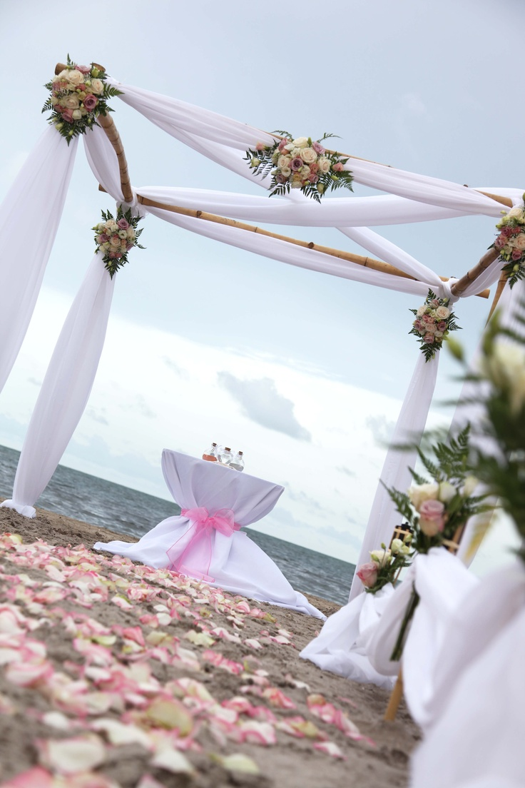 bamboo chuppah or wedding canopies wedding canopy White Wedding Canopy in Crandon Park