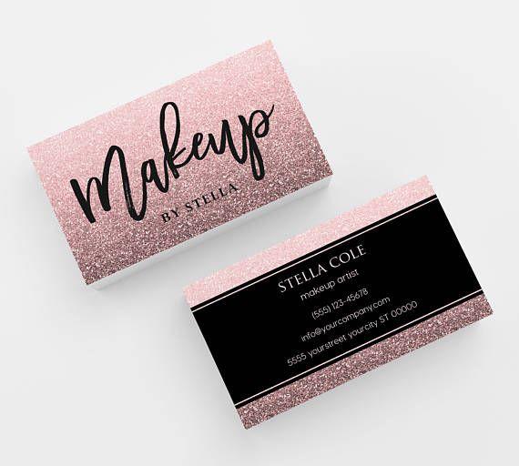 Glitter Makeup Artist Business Card 500 Printed Business Cards Etsy Makeup Artist Business Cards Business Cards Beauty Beauty Business Cards