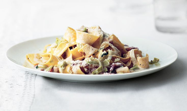 This twist on pasta carbonara is sweet from leeks and rich thanks to cream (in place of eggs).