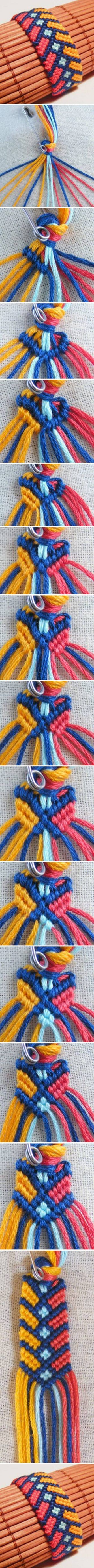 DIY Stylish Square Knot Macrame Bracelet