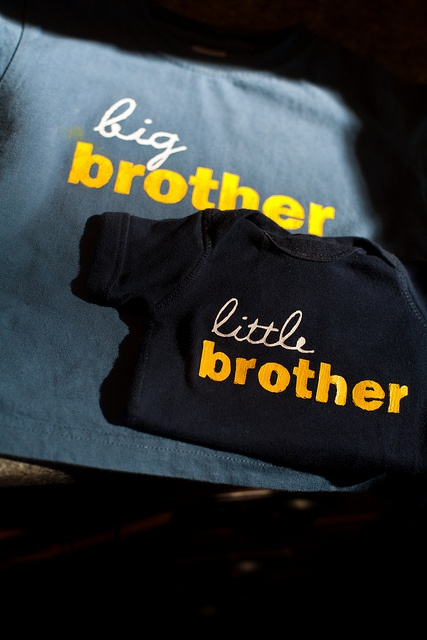 So thankful for Sir Bubbadoo's tutorial which enabled me to make my own big + little brother shirts! http://www.sirbubbadoo.com/2010/11/tutorial-freezer-paper-stenciling.html
