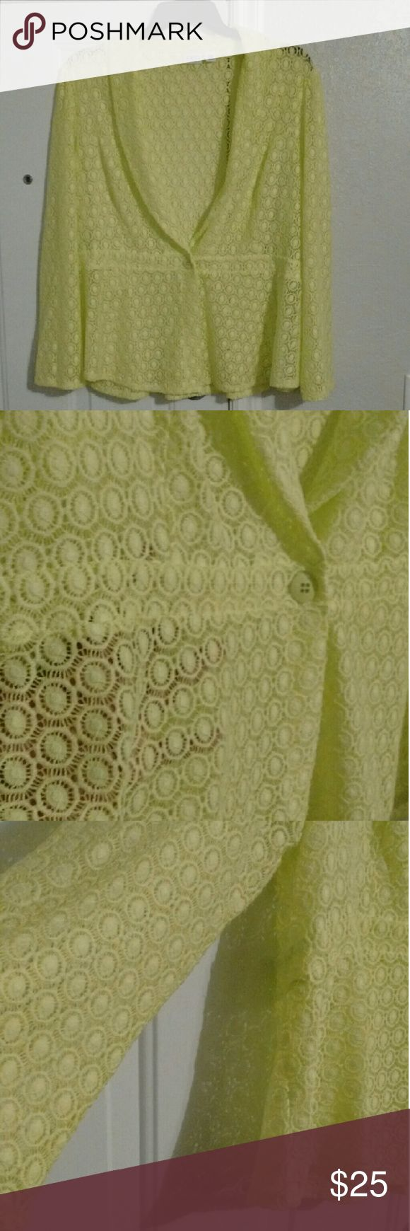 Lime Green Top This super cute long sleeve peplum style one button lime green top can be wore as a top or jacket. Darling see-thru pattern adds flare to any outfit. Worn once for a few hours. Cato size 22/24. Cato Tops