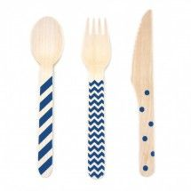 Navy Blue Stamped Wooden Cutlery Set