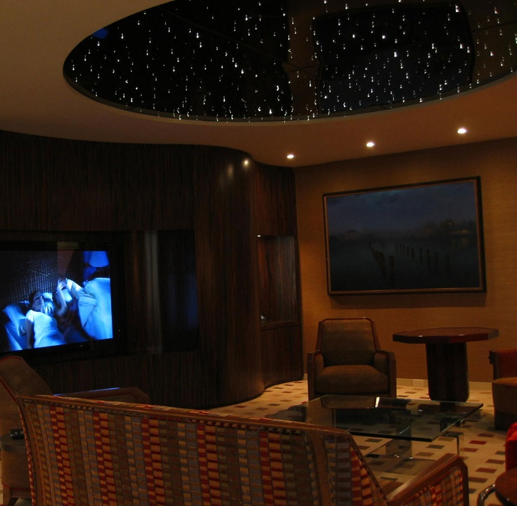 Mind Blowing Home Theaters For Your Dream Homes: Fiber Optic Starlight Theater Room Ceiling.