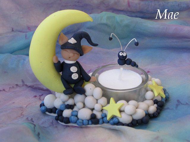 Portavelas luna con duende   Flickr - Photo Sharing!