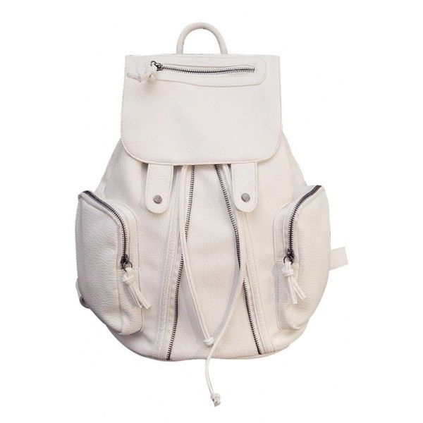 LUCLUC Cream Backpacks PU Zipper Expandable Bags ($50) ❤ liked on Polyvore featuring bags, backpacks, accessories, cream bag, knapsack bags, polyurethane bags, zipper backpack and expandable backpack
