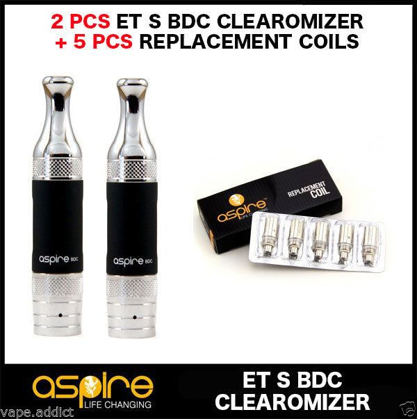 2 PCS ASPIRE ET S BDC CLEAROMIZER + 5 REPLACEMENT BDC COILS