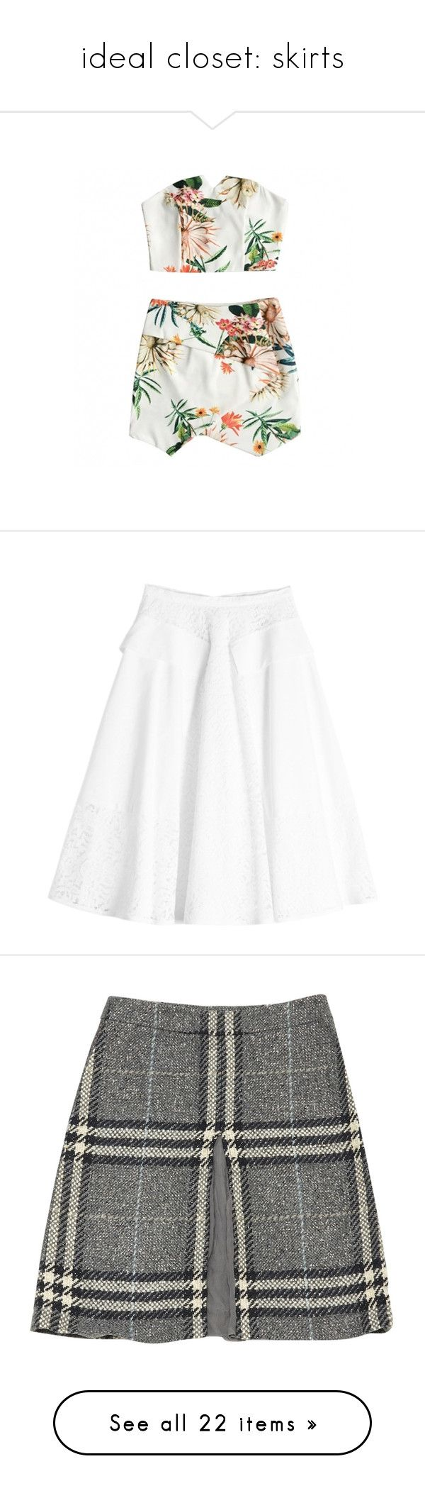 """""""ideal closet: skirts"""" by stardewplant ❤ liked on Polyvore featuring dresses, skirts, tops, two piece, white two piece, floral two piece, white, white skater skirt, white knee length skirt and lace skater skirt"""