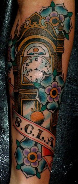 grandfather clock tattoo