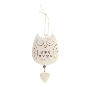 New Hanging Owl Heart Decoration Home Gift  Visit our family business...The Ginger Sheep £2.49
