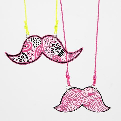 Moustache Jewellery Pendant made from Shrink Plastic Sheets decorated with Markers