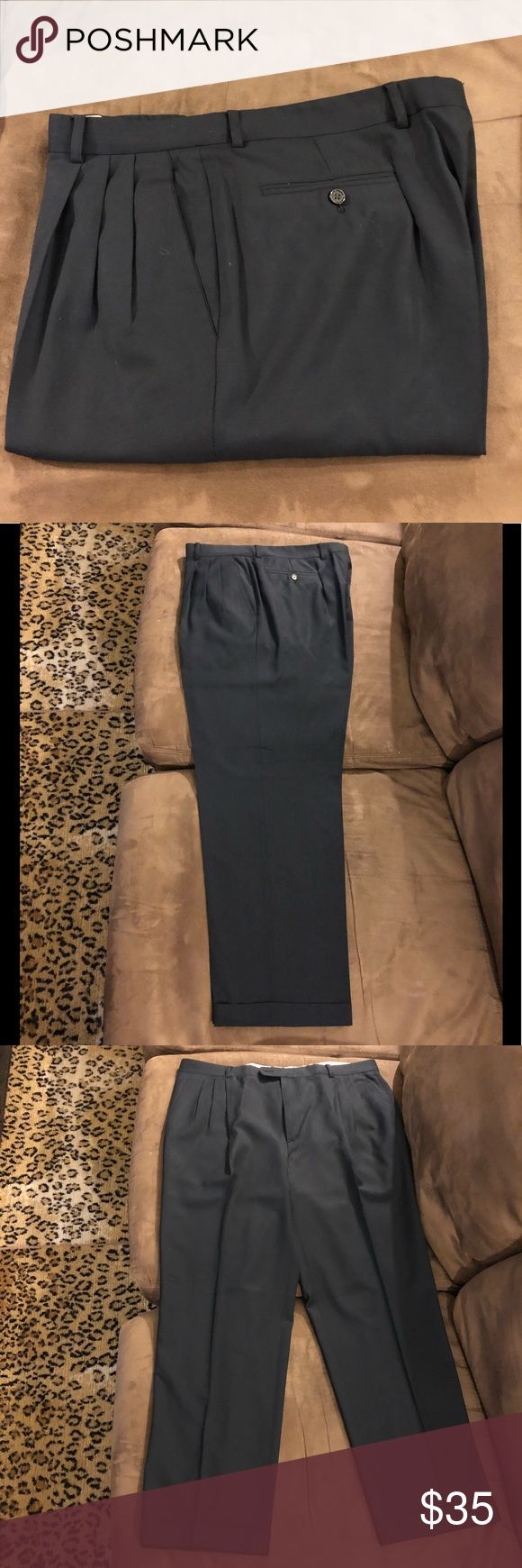 Zanella Solid Navy Blue Dress Pants 38x31 Zanella Solid Navy Blue Dress Pants size 38x31, Pleated and cuffed! Good condition! Please make reasonable offers and bundle! Ask questions :) Zanella Pants Dress