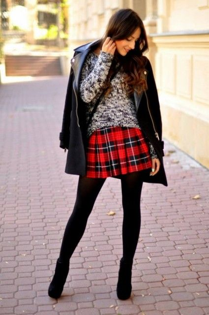 With sweater, leather jacket, black tights and ankle boots - Styleoholic
