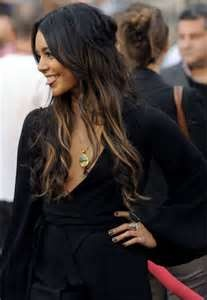 vanessa hudgens Dark Hair With Caramel Highlights