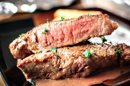 Feeding Andy: NY Strip Steaks w/ Port Wine Shallot Butter